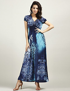זול שמלות נשים-כחול V עמוק מקסי פרח Ruched דפוס, נמר - שמלה סווינג משי בוהו חוף בגדי ריקוד נשים