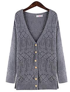 tanie Swetry damskie-Damskie Rozmiar plus Bawełna Dekolt serduszko Długi Rozpinany Jendolity kolor Geometryczny Długi rękaw