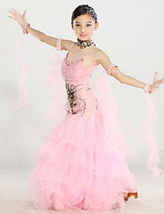 cheap Kids' Dancewear-Ballroom Dance Outfits Performance Polyester Nylon Spandex Chiffon Draping Embroidery Crystals / Rhinestones Sleeveless Dress Wristlet