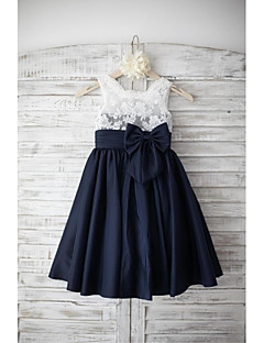 cheap Flower Girl Dresses-A-Line Knee Length Flower Girl Dress - Lace Taffeta Sleeveless Square Neck with Bow(s) Buttons Sash / Ribbon by LAN TING BRIDE®