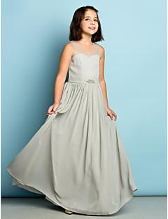 Linha A Decote V Longo Chiffon Vestido de Daminha de Honra com Detalhes em Cristal de LAN TING BRIDE®