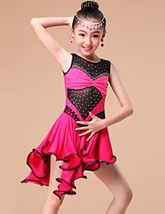 tanie Stroje do tańca latino-Taniec latynoamerykański Sukienki i spódnice Szkolenie Wydajność Mléčné vlákno Kryształy / kryształy górskie Falbany Bez rękawów Ubierać