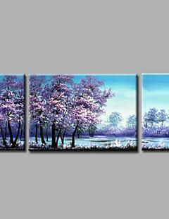 tanie Pejzaże abstrakcyjne-Ręcznie malowane Krajobraz Poziomy panoramiczny, Nowoczesny Brezentowy Hang-Malowane obraz olejny Dekoracja domowa Trzy panele