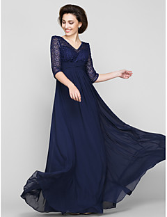 cheap -A-Line V Neck Ankle Length Chiffon Beaded Lace Mother of the Bride Dress with Lace Ruched by LAN TING BRIDE®