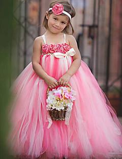 top cüppe ayak bileği uzunluğu çiçek kızı elbise - thstylee tarafından çiçek ile polyester tül kolsuz spagetti kayışlar
