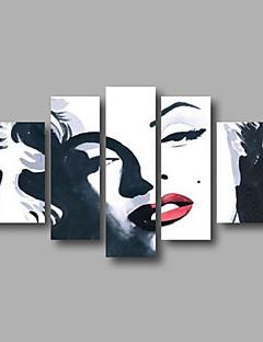 tanie Portrety abstrakcyjne-Hang-Malowane obraz olejny Ręcznie malowane - Ludzie Nowoczesny Brezentowy / Pięć paneli / Rozciągnięte płótno