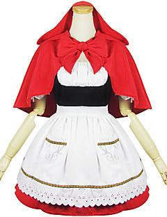 billiga Lolitaklänningar-Gotisk Lolita Gulligt Dam Piguniform Cosplay Vit Kortärmad Kort längd