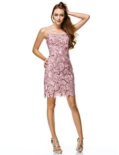Sheath / Column Scoop Neck Short / Mini Polyester Lace Prom Dress by TS Couture®