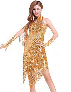 cheap New Arrivals-Latin Dance Dresses Women's Performance Chinlon Sequin Tassel Dress