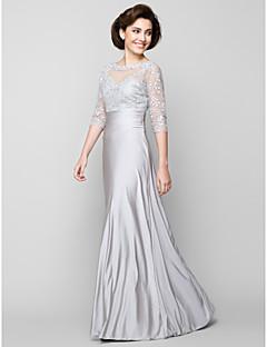 זול שמלות לאם הכלה-מעטפת \ עמוד סקופ צוואר באורך הקרסול טול שרמוז שמלה לאם הכלה  עם חרוזים על ידי LAN TING BRIDE®