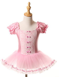 cheap Kids' Dancewear-Ballet Dresses Tutus Tutus & Skirts Children's Training Performance Spandex Tulle Bow(s) Short Sleeve Halloween Decorations Princess Dress