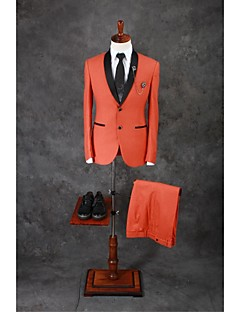 cheap Suits-Orange Solid Tailored Fit Cotton Blend Suit - Shawl Collar Single Breasted Two-buttons