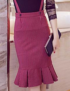 billige Plus Størrelser-Dame-Dame Plusstørrelser Havfrue Bodycon Nederdele Stribet, Drapering