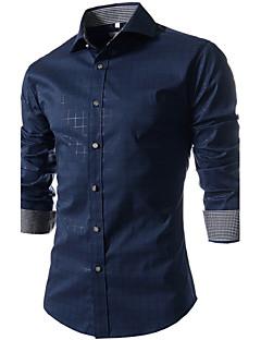 男性用 チェック オフィス シャツ,長袖 コットン / ポリエステル ブルー / レッド / ホワイト