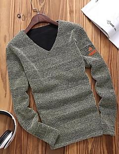 tanie Męskie swetry i swetry rozpinane-T-Shirt Męski-Na co dzień / Rozmiar plus-Gładki/a-Bawełna-Długi rękaw-Czarny / Niebieski / Czerwony / Beżowy / Szary