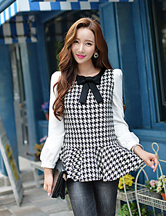 Vrouwen Winter Overhemd,Nette schoenen Blokken / Patchwork Strik Lange mouw Zwart Acryl / Polyester Medium