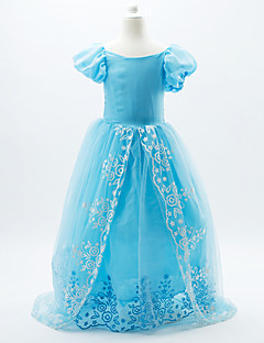Princess Cinderella Fairytale Skirt Cosplay Costume Movie Cosplay Blue Dress Halloween Carnival Children's Day New Year Organza Satin