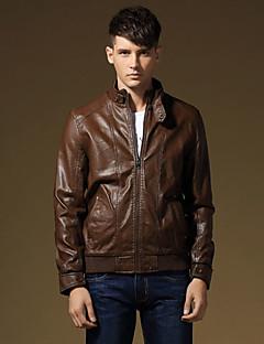 Χαμηλού Κόστους Men's Leather Jackets-Ανδρικά Jeci Piele Κλασσικό & Διαχρονικό-Μονόχρωμο Συμπαγές Χρώμα,Αγνό Χρώμα