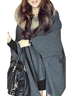 Damen Standard Mantel / Capes Solide Grau Langarm Acryl Winter Dick Unelastisch