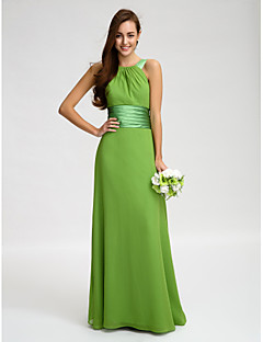 billige Grønn glamour-Tube / kolonne stropper Gulvlang Chiffon Brudepikekjole med Belte / bånd Bølgemønster av LAN TING BRIDE®