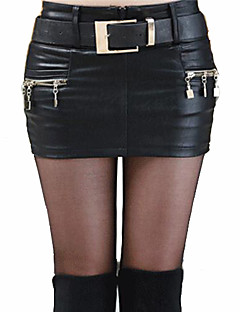 Women's Going out Mini Skirts,Sexy Bodycon Split Solid Spring Fall
