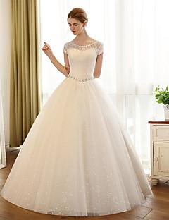 baratos -uma linha de colher de pescoço comprimento do chão vestido de casamento de tule com apliques de renda por noiva bordada