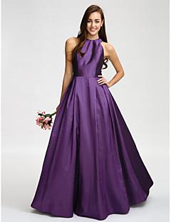 cheap Purple Passion-A-Line Jewel Neck Floor Length Taffeta Bridesmaid Dress with Sash / Ribbon by LAN TING BRIDE®