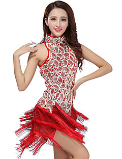 cheap Shall We®-Latin Dance Dresses Women's Performance Polyester Sequined Tassel Dress