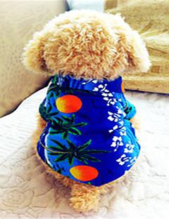 baratos -Cachorro Camiseta Roupas para Cães Respirável Férias Fashion Floral / Botânico Azul Ocasiões Especiais Para animais de estimação