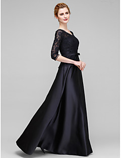 cheap Mother of the Bride Dresses-A-Line V Neck Floor Length Lace Satin Mother of the Bride Dress with Bow(s) Lace by LAN TING BRIDE®