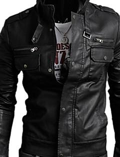 メンズスタイルのファッションPUジャケット、スタンドカラーのロングスリーブソリッドコート