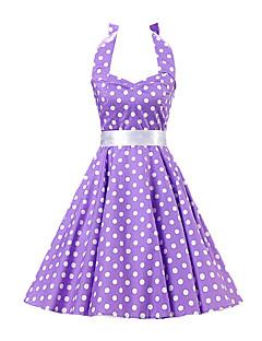 Bayanlar A Şekilli Vintage Elbise Yuvarlak Noktalı Diz-boyu Boyundan Bağlamalı Pamuklu
