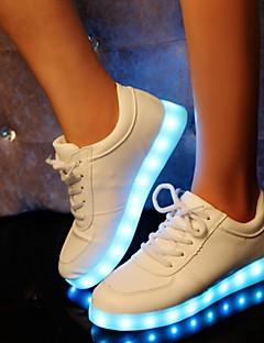 hesapli -Kadın's Ayakkabı Sentetik Bahar Sonbahar Rahat Işıklı Ayakkabılar Düz Taban Atletik Günlük Dış mekan Parti ve Gece için Toka Beyaz Siyah