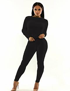 お買い得  レディースジャンプスーツ&ロンパース-女性用 ソリッド 日常 カジュアル スリム ジャンプスーツ 長袖 ラウンドネック