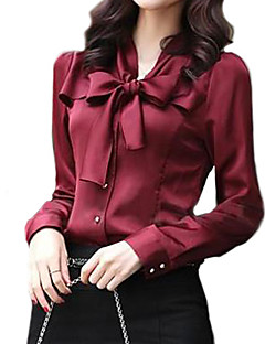 cheap -Women's Work Sophisticated Shirt - Solid Colored, Bow V Neck