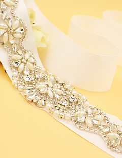 cheap Wedding Ribbons and Sashes-Satin Wedding Party / Evening Sash With Rhinestone Imitation Pearl Women's Sashes