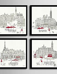 preiswerte Architektur gerahmte Kunst-Gerahmtes Leinenbild Gerahmtes Set - Architektur PVC Darstellung