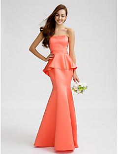 Lanting Bride® フロア丈 サテン ブライドメイドドレス - トランペット/マーメイド ストラップレス とともに サッシュ/リボン