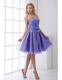 גזרת A לב (סוויטהארט) באורך  הברך טפטה שמלה לשושבינה  עם פפיון(ים) פרטים מקריסטל על ידי LAN TING BRIDE®