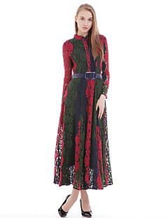 Women's Casual Sheath Dress,Patchwork Round Neck Maxi Long Sleeves Silk Cotton Polyester All Seasons Mid Rise Micro-elastic