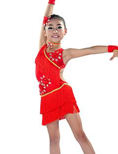 billige Nyheter-Latin Dans Drakter Barne Yteevne Spandex 5 deler Kjole Ermer Hodeplagg Nakkeklær