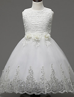 A-Line Knee Length Flower Girl Dress - Lace Organza Sleeveless Jewel Neck with Applique