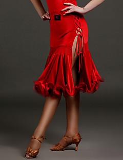 tanie Stroje do tańca latino-Taniec latynoamerykański Tutus i spódnice Damskie Wydajność Aksamit Falbany Naturalny Spódnica