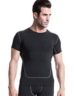 billiga Träning-, jogging- och yogakläder-Herr Rund hals T-shirt för jogging - Grön, Blå, Grå sporter Rand, Smal T-shirt / Kompressionskläder / Överdelar Kortärmad Sportkläder