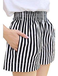 Women's Striped White Shorts / Wide Leg Pants,Casual / Day / Beach