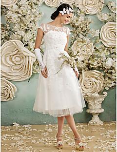 billiga A-linjeformade brudklänningar-A-linje Illusion Halsband Telång Spets på tyll Bröllopsklänningar tillverkade med Applikationsbroderi av LAN TING BRIDE®