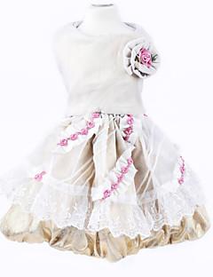 billiga Hundkläder-Hund Klänningar Hundkläder Blomma Guld Blandat Material Kostym För husdjur Dam Födelsedag Mode Bröllop