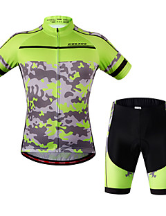 WOSAWE Sykkeljersey med shorts Dame Unisex Kort Erme Sykkel Sykkelshorts Med Seler Genser Jersey Shorts Topper KlessettFort Tørring