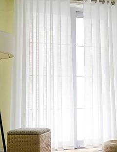 baratos Cortinas Transparentes-Barra no Interior Anéis Único Plissado Dois Painéis Tratamento janela Modern Sólido Sala de Estar Mistura de Linho e Poliéster Material