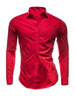 男性用 プレイン カジュアル / プラスサイズ シャツ,長袖 コットン ブラック / ブルー / パープル / レッド / ホワイト